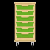 Storix Eigendomskast beuken 1 kol. 6 laden groen