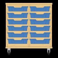 Storix Eigendomskast beuken 2 kol. 6 laden blauw