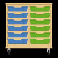 Storix Eigendomskast beuken 2 kol. 6 laden blauw-groen