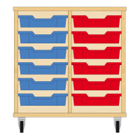 Storix Eigendomskast beuken 2 kol. 6 laden blauw-rood