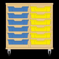 Storix Eigendomskast beuken 2 kol. 6 laden blauw-geel