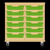 Storix Eigendomskast beuken 2 kol. 6 laden groen