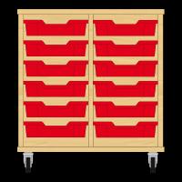 Storix Eigendomskast beuken 2 kol. 6 laden rood