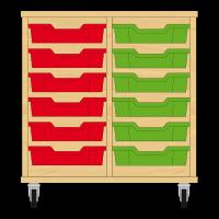 Storix Eigendomskast beuken 2 kol. 6 laden rood-groen
