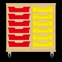 Storix Eigendomskast beuken 2 kol. 6 laden rood-geel
