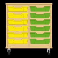 Storix Eigendomskast beuken 2 kol. 6 laden geel-groen