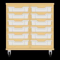 Storix Eigendomskast beuken 2 kol. 6 laden transparant