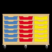 Storix Eigendomskast beuken 3 kol. 6 laden blauw-rood-geel