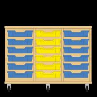 Storix Eigendomskast beuken 3 kol. 6 laden blauw-geel-blauw