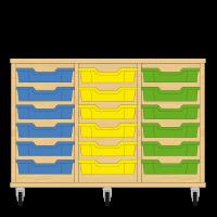 Storix Eigendomskast beuken 3 kol. 6 laden blauw-geel-groen