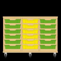 Storix Eigendomskast beuken 3 kol. 6 laden groen-geel-groen