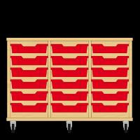 Storix Eigendomskast beuken 3 kol. 6 laden rood