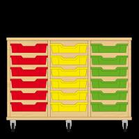 Storix Eigendomskast beuken 3 kol. 6 laden rood-geel-groen