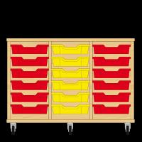 Storix Eigendomskast beuken 3 kol. 6 laden rood-geel-rood
