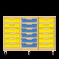 Storix Eigendomskast beuken 3 kol. 6 laden geel-blauw-geel