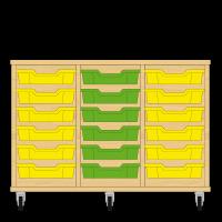 Storix Eigendomskast beuken 3 kol. 6 laden geel-groen-geel