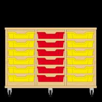 Storix Eigendomskast beuken 3 kol. 6 laden geel-rood-geel