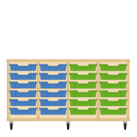 Storix Eigendomskast beuken 4 kol. 6 laden blauw-blauw-groen-groen