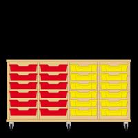 Storix Eigendomskast beuken 4 kol. 6 laden rood-rood-geel-geel