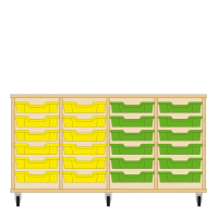 Storix Eigendomskast beuken 4 kol. 6 laden geel-geel-groen-groen