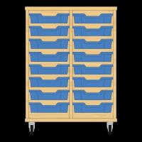 Storix Eigendomskast beuken 2 kol. 8 laden blauw
