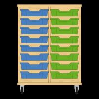 Storix Eigendomskast beuken 2 kol. 8 laden blauw-groen