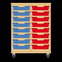 Storix Eigendomskast beuken 2 kol. 8 laden blauw-rood