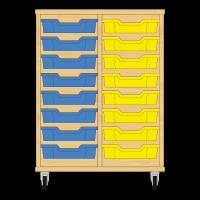 Storix Eigendomskast beuken 2 kol. 8 laden blauw-geel