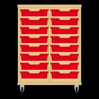 Storix Eigendomskast beuken 2 kol. 8 laden rood
