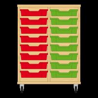 Storix Eigendomskast beuken 2 kol. 8 laden rood-groen