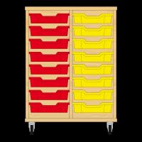 Storix Eigendomskast beuken 2 kol. 8 laden rood-geel