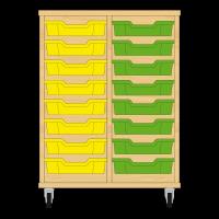 Storix Eigendomskast beuken 2 kol. 8 laden geel-groen