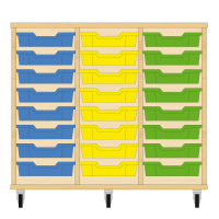 Storix Eigendomskast beuken 3 kol. 8 laden blauw-geel-groen