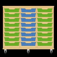 Storix Eigendomskast beuken 3 kol. 8 laden groen-blauw-groen