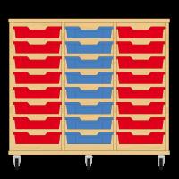 Storix Eigendomskast beuken 3 kol. 8 laden rood-blauw-rood