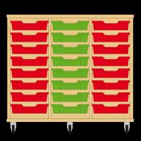 Storix Eigendomskast beuken 3 kol. 8 laden rood-groen-rood