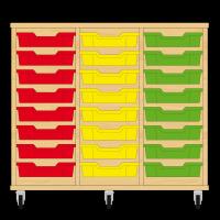 Storix Eigendomskast beuken 3 kol. 8 laden rood-geel-groen