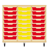 Storix Eigendomskast beuken 3 kol. 8 laden rood-geel-rood