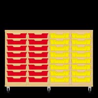 Storix Eigendomskast beuken 4 kol. 8 laden rood-rood-geel-geel