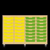 Storix Eigendomskast beuken 4 kol. 8 laden geel-geel-groen-groen