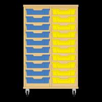 Storix Eigendomskast beuken 2 kol. 10 laden blauw-geel