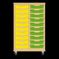 Storix Eigendomskast beuken 2 kol. 10 laden geel-groen
