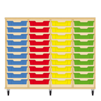 Storix Eigendomskast beuken 4 kol. 10 laden blauw-rood-geel-groen