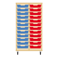 Storix Eigendomskast beuken 2 kol. 12 laden blauw-rood