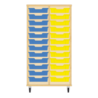Storix Eigendomskast beuken 2 kol. 12 laden blauw-geel