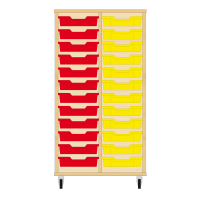 Storix Eigendomskast beuken 2 kol. 12 laden rood-geel