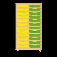 Storix Eigendomskast beuken 2 kol. 12 laden geel-groen