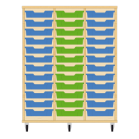 Storix Eigendomskast beuken 3 kol. 12 laden blauw-groen-blauw
