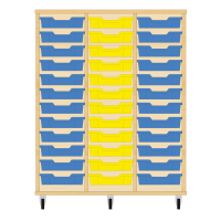 Storix Eigendomskast beuken 3 kol. 12 laden blauw-geel-blauw