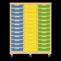 Storix Eigendomskast beuken 3 kol. 12 laden blauw-geel-groen